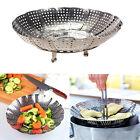 Folding Stainless Mesh Food Dish Poacher Vegetable Fruit Steamer Basket Cooker