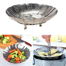 Folding Stainless Mesh Food Dish Poacher Vegetable Fruit Steamer Basket Cooker