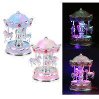Mini Carousel Clockwork Music Box Colorful LED Merry-go-round Musical Box Gift