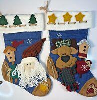 Christmas Stockings D & F Designs Gastonia NC Lot of 2 3D Santa And Reindeer