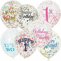 "10 12"" Clear Confetti Filled Balloon Birthday Party Wedding Decorations Girl Boy"