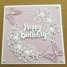 Handmade Happy Birthday card lilac & white flowers & butterflies with pearls