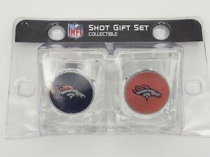 Great American Products NFL Denver Broncos 2 Piece Square 2 oz.Shot Glass Set