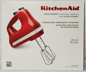 KitchenAid KHM512ER Empire Red Ultra Power 5 Speed Handheld Mixer Brand New