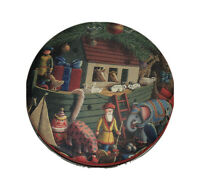 Vintage Small Round Noah's Ark Tin W Lid Unbranded