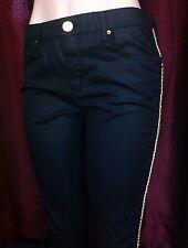 ASOS DENIM Women Skinny Slim Casual Pants Sz 10 (33 x 31 Med Black Gold Design