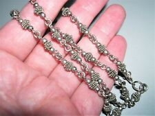 "Fancy Sterling Silver Bali Coil & Shiny Bead Chain Link Necklace~16""~12G"