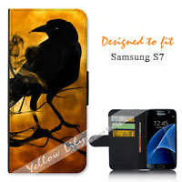 For Samsung Galaxy S7 Wallet Flip Phone Case Cover Black Crow Night Y00772