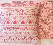 2 Pink Love Hearts Handmade Cushion Cover  with Emma Bridgewater Sampler 16x16""