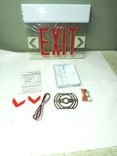 Red LED Emergency Exit Light Sign Ceiling Edge Lit Battery Backup White Single