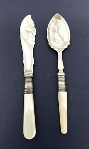 Vintage EPNS Butter Knife And Jam Spoon With Pearlised Handles
