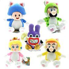 "Super Mario Lot5 New 9""Cat Peach Princess Mario Luigi Toad Nabbit 3D World plush"