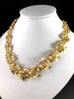 PERFECT FALL 1960'S NAPIER GOLD-TONE FAUX PEARL FLORAL LEAF COLLAR NECKLACE