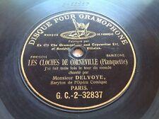 """78 RPM DELVOYE -Cloches de Corneville-PLANQUETTE 10"""" Black Paris G&T G.C. 32837"""