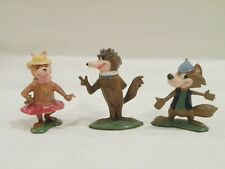 Vintage Marx Hokey Wolf Ding-a-ling and Cindy Bear Mini Figures Early 1960's
