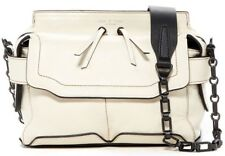$495 Rag & Bone Micro Pilot Satchel Leather Crossbody Shoulder Bag White / Black