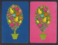 #920.837 vintage swap card -EXC/NEAR MINT pair- Fruit Salad Trees, pink & blue