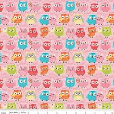 FLANNEL by 1/2 Yard - Riley Blake Fabric ~ Tree Party Multi-Color Owls in Pink