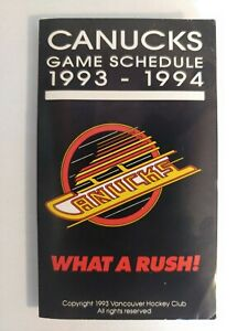 1993-1994 Vancouver Canucks Pocket Schedule NHL Pavel Bure Geoff Courtnall