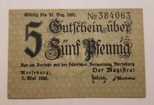 MERSEBURG NOTGELD 5 PFENNIG 1920 NOTGELDSCHEIN Verkehrsausgabe (9163)