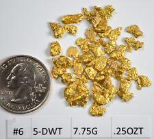 Alaskan Yukon BC  Gold Nuggets  #6 Mesh 1/4 Troy Oz 7.75 Grams or 5 DWT