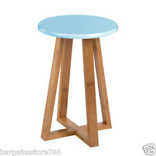 Viborg Blue Seat Stool Round Breakfast Bar Rest Bamboo Wood Base Legs Chair New