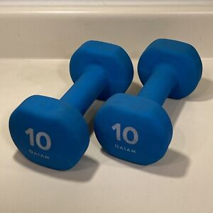 Gaiam Two (2) 10lb 10 Pound Hand Weights Dumbbells Blue Rubber Neoprene Comfort
