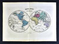 1877 Migeon Map - World in Hemispheres - America Europe Africa Asia Australia