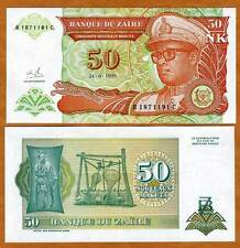 Zaire, 50 New Makuta, 1993, Pick 51, UNC --> Mobutu