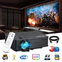 7000Lumens Full HD 1080P LED 3D VGA AV SD USB Home Theater Projector Cinema US