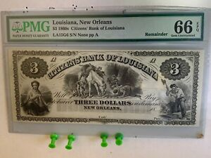 1860s $3 PMG 66 EPQ AWESOME Remainder Citizens Bank of Louisiana - New Orleans