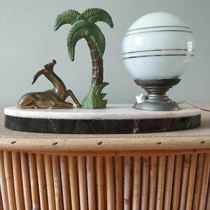 Lampe vintage palmier gazelle antilope art déco - globe opaline - socle marbre