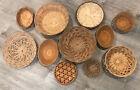 LOT Woven Wicker Rattan Basket Trivets Wall Basket Decor Boho/Farmhouse Set 11