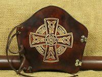 Armschutz Bogensport Leder braun Keltisches Kreuz Bogenstulpe traditionell