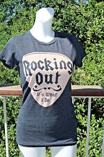 M Medium Local Celebrity Nordstrom Vintage Rocking Out Tee w/ Crystals S/M