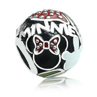 925 Sterling Silver Disney Minnie Charm Bead Red Black Enamel Fit Bracelet Chain