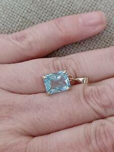 ❤️ Natural 3ct emerald octagon cut Swiss blue topaz solid 9ct gold pendant