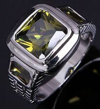 Size 8,9,10,11,12 Emerald Cut Man's Peridot 18K Gold Filled Fashion Band Rings