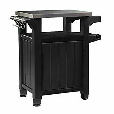 Keter Unity Indoor Outdoor BBQ Entertainment Storage Table/Prep Station with