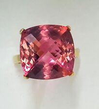 Tiffany & Co 18K YELLOW GOLD RING Natural PINK TOURMALINE 15.45CT CUSHION CUT
