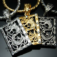 Dragon Cubic Onyx Pendant Chain Necklaces 18k Gold & Silver Plated Mens Jewelry