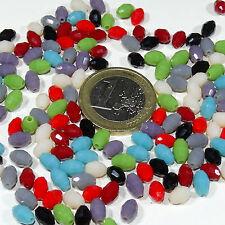 80 Cristales Variados 6x4mm T552A Colores Alabastro  Crystal Beads Perline