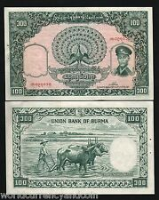 BURMA MYANMAR 100 KYAT P51 1958 AUNG SAN BUFFALO UNC LARGE BILL CURRENCY NOTE