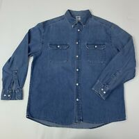 Old Navy Mens Large Blue Jean Denim Long Sleeve Button Front Shirt
