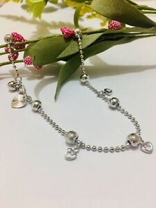 "18ct 18k White  Gold Filled Ankle Chain Heart & Bell Anklet 10.6"" Gift Pouch 43A"