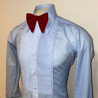 Vtg 70s AFTER SIX Tuxedo Shirt BLUE Ruffles TUX Dress Retro Prom Mens 15 33 34