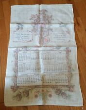 Vintage Linen Calendar Tea Towel 1961 by Stevens -Cuckoo Clock