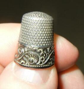 ANTIQUE KETCHAM & MCDOUGALL GOLD SCROLL BAND STERLING SILVER THIMBLE SIZE 7