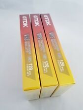 Lot (3) TDK Superior Quality Standard Grade Blank VHS Tapes T120 6 Hours