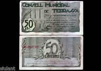 Banknotes Local - Terrassa. 50 Cts. Year 1937 - Without Series - MBC